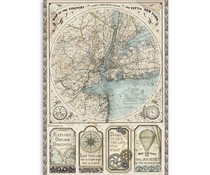 Stamperia Rice Paper A4 Sir Vagabond Map of New York (DFSA4515)
