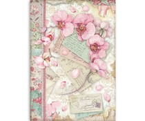 Stamperia Rice Paper A4 Pink Orchid (DFSA4512)