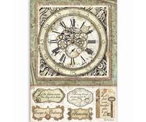 Stamperia Rice Paper A4 Lady Vagabond Clock with Mechanisms (6pcs) DFSA4519)