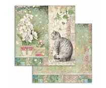 Stamperia Cat and Vase 12x12 Inch Paper Sheets (10pcs) (SBB752)