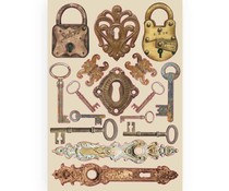 Stamperia Colored Wooden Shapes A5 Lady Vagabond Locks and Keys (KLSP086)