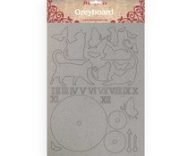 Stamperia Greyboard A4 Cats and Clock (KLSPDA418)