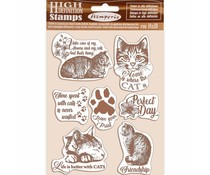 Stamperia Natural Rubber Stamp Cats (WTKCC188)