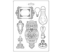Stamperia Soft Mould A4 Sir Vagabond Owl and Memories (K3PTA486)