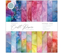 Craft Consortium Essential Craft Papers 12x12 Inch Paper Pad Ink Drops Vivid (CCEPAD013)