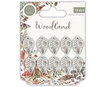 Craft Consortium Woodland Metal Charms Silver Leaf (CCMCHRM019)