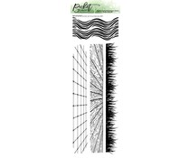 Picket Fence Studios Slim Line Grass and Waves with Tile and Wood Floor 4x12 Inch Clear Stamps (BB-157)