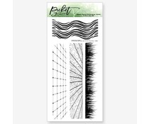 Picket Fence Studios Tall Grass and Waves with Tiles and Wood Floors 4x8 Inch Clear Stamps (BB-158)