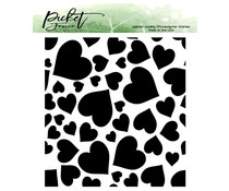 Picket Fence Studios Falling Hearts 4x4 Inch Clear Stamps (BB-160)