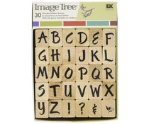 EK Success Tools Brush Letters Upper ABC Wooden Rubber Stamps (ITABC/BL)