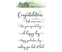 Picket Fence Studios Fancy Congratulations Sentiments 4x6 Inch Clear Stamps (S-181)