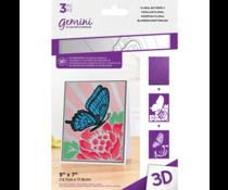 Gemini Floral Butterfly 3D Embossing Folder & Stencil (GEM-EF5-3D-FLOB)