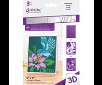 Gemini Humming Bird 3D Embossing Folder & Stencil (GEM-EF5-3D-HUMB)