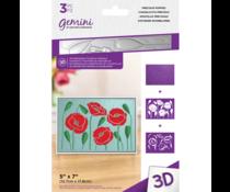 Gemini Precious Poppies 3D Embossing Folder & Stencil (GEM-EF5-3D-PREP)