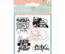 Stamperia Circle of Love Cat and Labels Clear Stamps (WTKJR32)