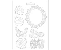 Stamperia Soft Mould A5 Circle of Love Frame and Butterfly (K3PTA572)