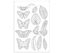 Stamperia Soft Mould A4 Amazonia Leaves and Butterflies (K3PTA489)