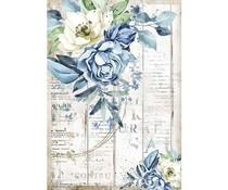 Stamperia Rice Paper A4 Romantic Sea Dream Blue Flower (6 pcs) (DFSA4560)