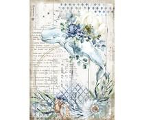 Stamperia Rice Paper A4 Romantic Sea Dream Whale (6 pcs) (DFSA4559)