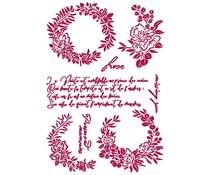 Stamperia Stencil A4 Romantic Journal Garlands Love (KSG461)