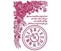 Stamperia Stencil A4 Romantic Journal Clock (KSG465)