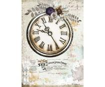 Stamperia Rice Paper A4 Romantic Journal Clock (6 pcs) (DFSA4555)