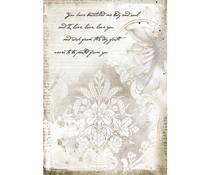 Stamperia Rice Paper A4 Romantic Journal Manuscrips (6 pcs) (DFSA4554)