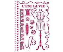 Stamperia Stencil A4 Romantic Threads Couture (KSG467)