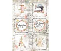 Stamperia Rice Paper A4 Romantic Threads Mini Cards (6 pcs) (DFSA4568)