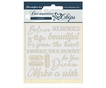 Stamperia Decorative Chips Atelier des Arts Quotes (SCB46)