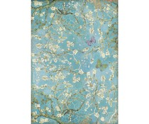 Stamperia Rice Paper A4 Atelier Blossom Blue Background with Butterfly (6 pcs) (DFSA4546)