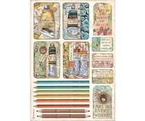 Stamperia Rice Paper A4 Atelier Tubes of Paints and Pencils (6 pcs) (DFSA4550)