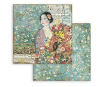 Stamperia Dame with Fan 12x12 Inch Paper Sheets (10pcs) (SBB776)