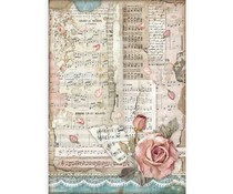 Stamperia Rice Paper A4 Passion Roses And Music (6 pcs) (DFSA4539)