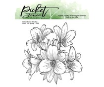 Picket Fence Studios Lilies for Spring 4x4 Inch Clear Stamps (F-149)