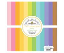 Doodlebug Design Spring 12x12 Inch Textured Cardstock Assortment Pack (7195)