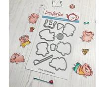 Time For Tea Workout Pigs Metal Dies (T4T/585/Wor/Die)