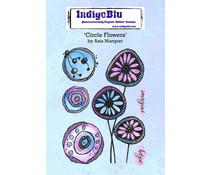 IndigoBlu Circle Flowers by Asia A6 Rubber Stamps (IND0757)