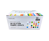 Trimcraft Nova 3D Glitter Fabric Paints (24pcs) (NVMXM014)