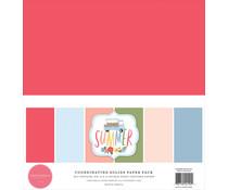 Carta Bella Summer 12x12 Inch Coordinating Solids Paper Pack (CBS133015)