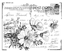 Crafty Individuals Floral Postcard Unmounted Rubber Stamps (CI-302)