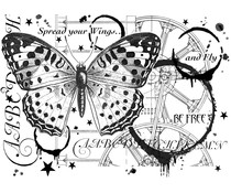 Crafty Individuals Fly and Be Free Unmounted Rubber Stamps (CI-517)