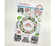 Time For Tea Winter Wishes Wreath A5 Clear Stamps (T4T/546/Win/Cle)