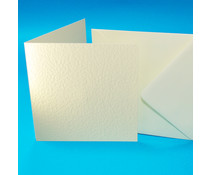 Craft UK Cards & Envelopes 6x6 Inch Ivory Hammered (CUKW102)