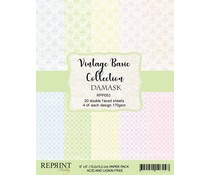 Reprint Vintage Basic Collection Damask 6x6 Inch Paper Pack (RPP053)