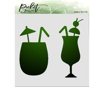 Picket Fence Studios Tropical Drinks 6x6 Inch Stencil (SC-193)