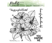 Picket Fence Studios Tropical Hibiscus Bouquet 6x6 Inch Clear Stamps (F-153)