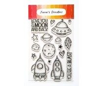 Jane's Doodles To The Moon Clear Stamps (JD035)