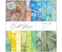 Craft Consortium Essential Craft Papers 12x12 Inch Paper Pad Ink Drops Earth (CCEPAD015)