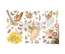 Re-Design with Prima Fairy Flowers 6x12 Inch Decor Transfers (653514)